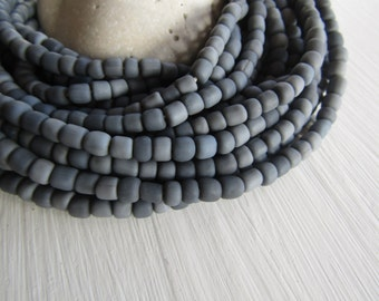 grey seed Beads, grey  glass beads , opaque matte  small tube barrel spacer , indonesia,  New Indo-pacific 3 to 6mm / 22 inch strd - 6BB1-52