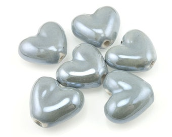 Light Grey Heart Beads 20mm x 18mm Ceramic Heart Beads Light Steel Grey Beads for Jewelry Making Valentine's Day Pottery Boho Beads Bohemian