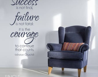 Winston Churchill Wall Decal Quote Courage to Continue - Vinyl Wall Words