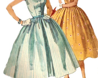 1950s Dress Pattern Rockabilly Full Skirt Round Neck Vintage Sewing Simplicity Women's Misses Size 12 Bust 30 Inches