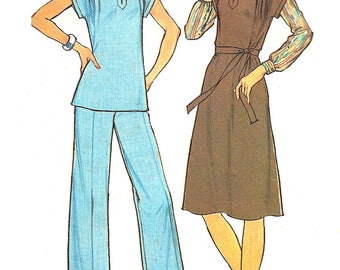 1970s Pants Pattern Tunic Top Dress Slash Front Blouse Simplicity Simple to Sew Vintage Sewing Women's Misses Size 40 Bust 44 Inches