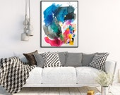 "Abstract painting, watercolor painting, original painting on paper, acrylic painting, colorful art, 19.6 x 27.5"", large paper painting"