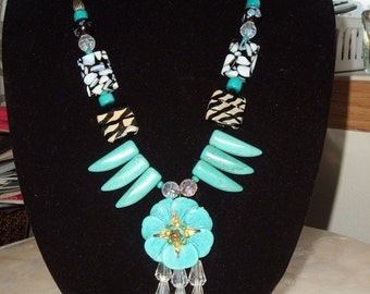 Waterfall Turquoise Flower Necklace, Turquoise Talon, Black & White Mosaic Beads, Teardrop Crystals, Boho, Unique, Statement, Exotic, Trendy