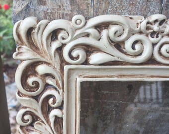 Shabby Antiqued Upcycled 4x6 Resin Ornate Picture Frame Ivory Color FREE SHIPPING!