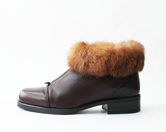1990's Dark Brown Fur Cuffs Ankle Boots