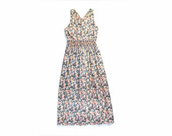 1970s Floral Criss Cross Maxi Sundress
