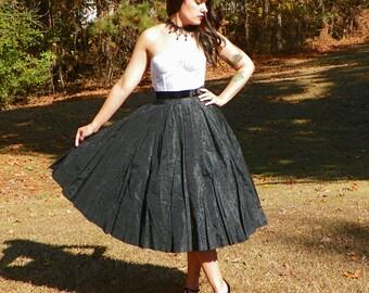 1950s Vintage Black Taffeta Full Circle Skirt Velvet Waist Velvet Floral Print with Black Crinoline Formal Swing Skirt Size Small