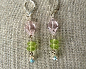 Pink, Lime and Turquoise Earrings, Glass Bead Dangles, Colorful Dangle Earrings, Pastel Bead Jewelry, Multicolored Earrings