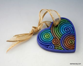 Heart Christmas Ornament in Peacock Colors Polymer Clay Filigree (Mini) Valentine's Day Gift