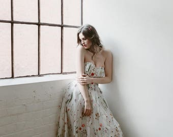 Embroidered Gown, floral maxi dress, wedding dress, prom dress, embroidery, white embroidered dress, boho dress, strapless, spring wedding