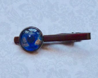 Earth Eye Gunmetal Tie Bar Tie Clip - Planet Earth Tie Bar - Mens Celestial Gift