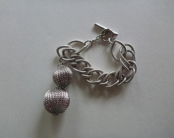 CORO charm bracelet. disco ball bacelet. chunky chain link bracelet. charm bracelet. silver tone bracelet