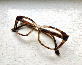 Titmus NOS 50's 60's Angular Thick Hornrim Eyeglasses Chunky Eyewear Frames Ash Blonde Tortoise Marble Brown Bridge Fade