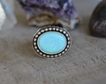 Opal Ring. Blue Moon Opal Gemstone Sterling Silver Ring. Small Everyday Ring. Feminine. Ruffled. Birthstone Jewelry. Size 6.5
