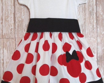 MINNIE MOUSE, disney dress, birthday minnie party dress, red dot, girls minnie mouse dress, minnie party dress, ready to ship, size 6-9M