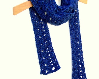 Boho Scarf - Crochet Skinny Scarf - Womens Neck Wrap - Lace Neck Warmer - Heather Royal Blue