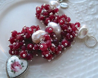 """Vintage Guilloche Heart Charm and Ruby Bracelet-Vintage charm and gemstone bracelet-""""Follow Your Heart"""""""