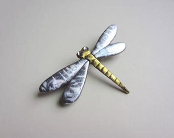 Dragonfly pin in silver and gold brooch