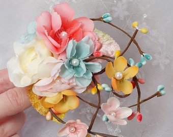 floral headpiece, floral hair comb, coral and turquoise wedding, bridal hair accessories, teal hair clip, boho hair, pink, mustard yellow