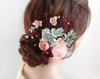 bridal hair accessories, burgundy wedding hair clip, bridal hair piece, pink flower, floral headpiece, bridal headpiece, bridal hair comb