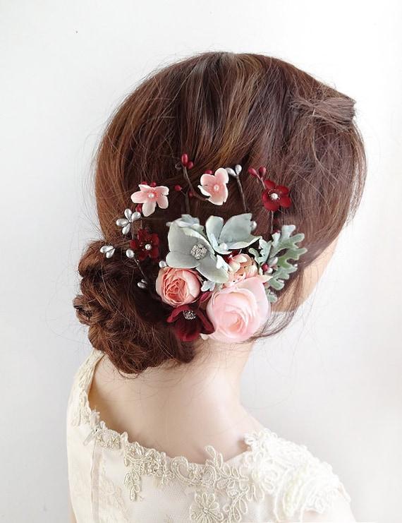 Bridal Hair Accessories Burgundy Wedding Hair Clip Bridal