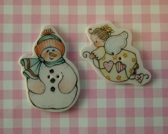 Snowman and Angel Buttons set of 2