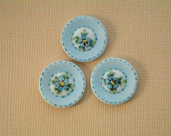 Denim Blue Button set of 3