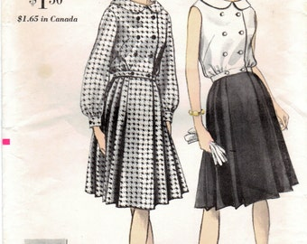 1960s Vogue 6236 Vintage Sewing Pattern Misses Blouse and Pleated Skirt Size 14 Bust 34