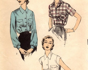 1950s Advance 6426 Vintage Sewing Pattern Misses Blouse, Shirtwaist Blouse, Tailored Blouse Size 12 Bust 30