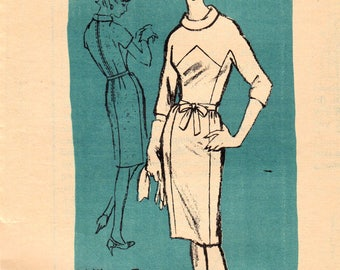 1960s Mail Order A957 Vintage Sewing Pattern Misses Designer Slim Dress, Sheath, Designer Philippe Tournaye Size 16 Bust 36