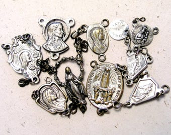 Antique Vintage Religious Lot - 9 Rosary Connector Medals - Silvertone