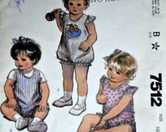 Vintage 80's McCall's 7512 Sewing Pattern, Baby's Romper and Applique, Newborn Size, Uncut FF, 1980's Infants Spring/Summer