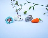 Spring stitch markers, bunny charm, rabbit charm, carrots, flower, knitting accessories, knit, cute animal charms, white grey bunnies charm