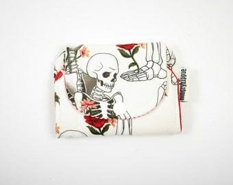 Bitty Skeleton Wallet with zip pocket  Skeletons & Roses