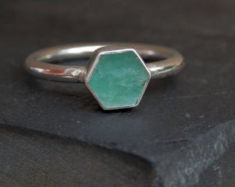 Emerald slice ring / silver and emerald ring / May birthstone / emerald engagement ring / emerald jewelry / natural emerald / raw emerald