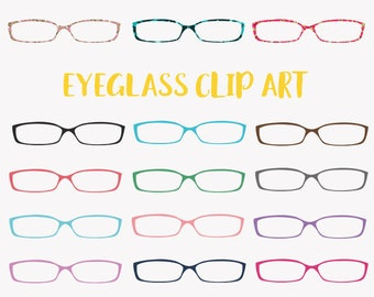 Eyeglasses clip art set, eye wear in a rainbow of colors and prints clipart (LC12)