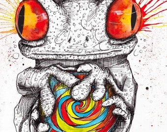 """FROG ART - Animal Drawing - INKtober 2016 - Surreal Amphibian - Frog Candy -  """"The Sticky Circumstance"""" by Far Out Arts"""