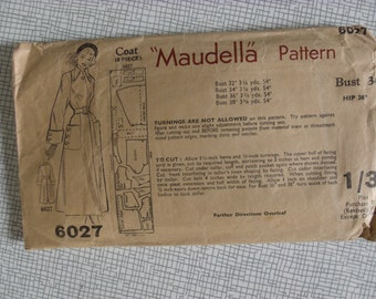 "1950s Coat - 34"" Bust - Maudella 6027 - Vintage Sewing Pattern"
