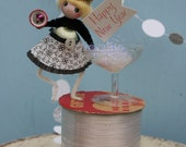 Vintage Style Spun Head Gal -  Happy New Year, Silver with Champagne Glass