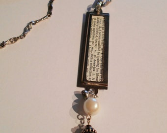 Librarian necklace-  dictionary, statement, profession, label,
