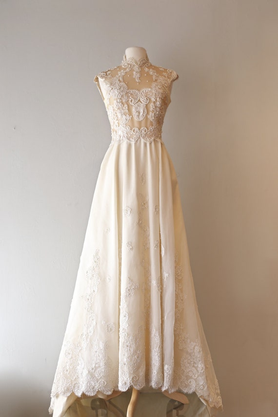 Vintage 1960's Illusion Lace Wedding Gown ~ Vintage 60s Wedding Dress With Sexy Sheer Illusion Bodice Lace Pearls