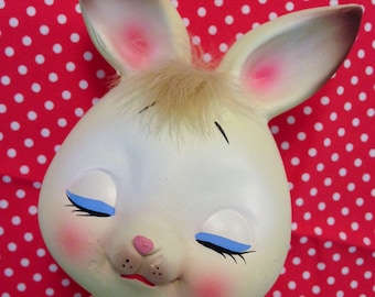 Vintage Japan Kitsch Ceramic Bunny Rabbit Hair Closed eyes with Apron Coin Bank