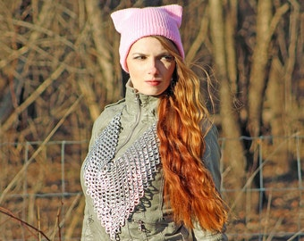 Light Pink Pussy Hat Cat Kitten Hat Blush Pink Ear Slouchy Cap Women's Rights March on Washington. Protest Resist Ready to Ship Impeachment