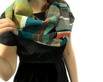 Lark | Handwoven Pantone Statement Scarf | Heirloom Woven Fashion | Woven Colorful Ladies Gifts | Greenery & Flame Bohemian Textile | H78