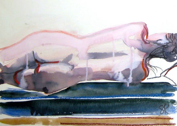 Nude painting- Original watercolor painting of Nude #1425 by Gretchen Kelly
