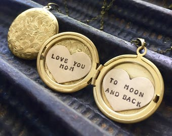 Love you Mom to Moon and Back locket necklace, Mothers day gift Personalized jewelry, Custom hand stamped Heart Locket necklace