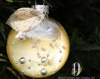 Gold & Silver Bead Glass Disk Ornament, Gold Silver Shimmer Fabric Leaf, White Ribbon, Hand Painted, Christmas Holiday Tree Decor