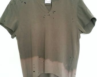 UPCYCLED Bleached Top. Distressed Vintage T-Shirt. Army Green Crop Top. Ombre. Grunge.