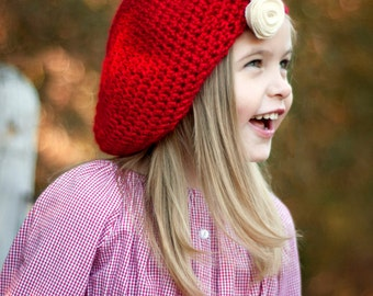 Girl's Crochet Hat - red beret - Boho hat - girls red hat - Slouch hat - toddler hat - white flower hair clip - girls newborn hat - red hat