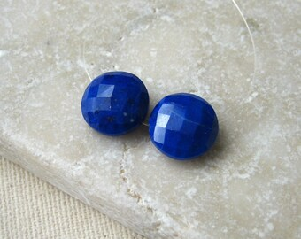 Blue Lapis Faceted Coin Beads 10mm - Matched Gemstone Pair